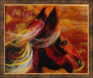 Картина выложена прядками шерсти.  Зафиксированна стеклом.