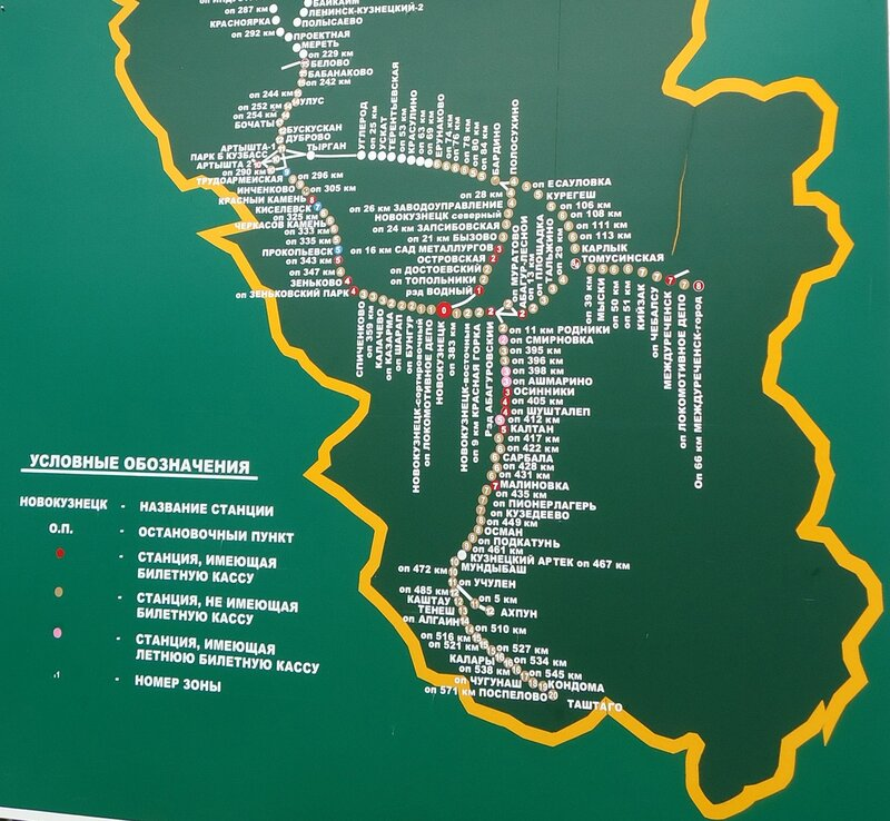 Электрички Новокузнецк. Схема