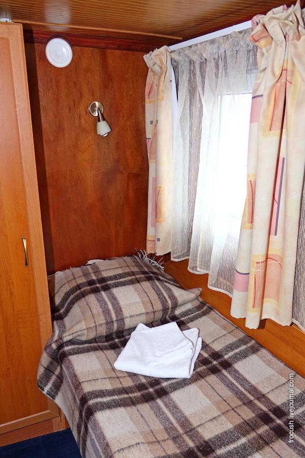Одноместная каюта №409 на шлюпочной палубе теплохода «Карл Маркс»
