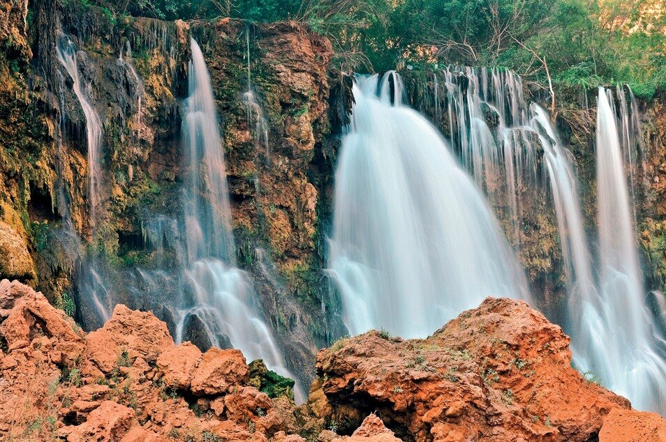 Arizona, Supai, Havasupai Nation, Navajo Falls, Reservation, Grand Canyon region, Havasu Canyon, Havasu River tributary of Colorado River