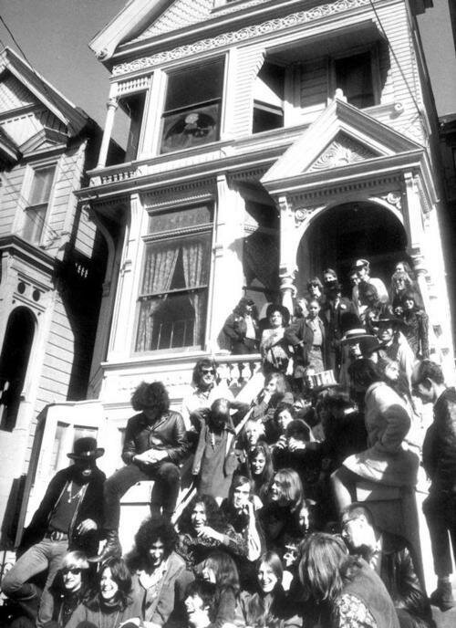The Grateful Dead with friends outside 710 Haight Ashbury (I see Grace Slick and Jack Casady at the top right).jpg
