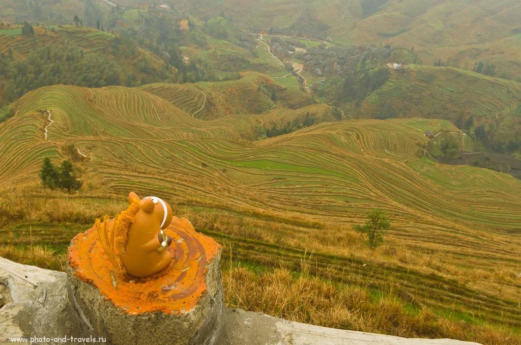 Наш турист на смотровой площадке №3 любуется рисовыми террасами в деревне Дажай (Dazhai, 大寨梯) в районе Лунцзи (Longji | 龙脊). Рассказ о поездке в Китай самостоятельно.
