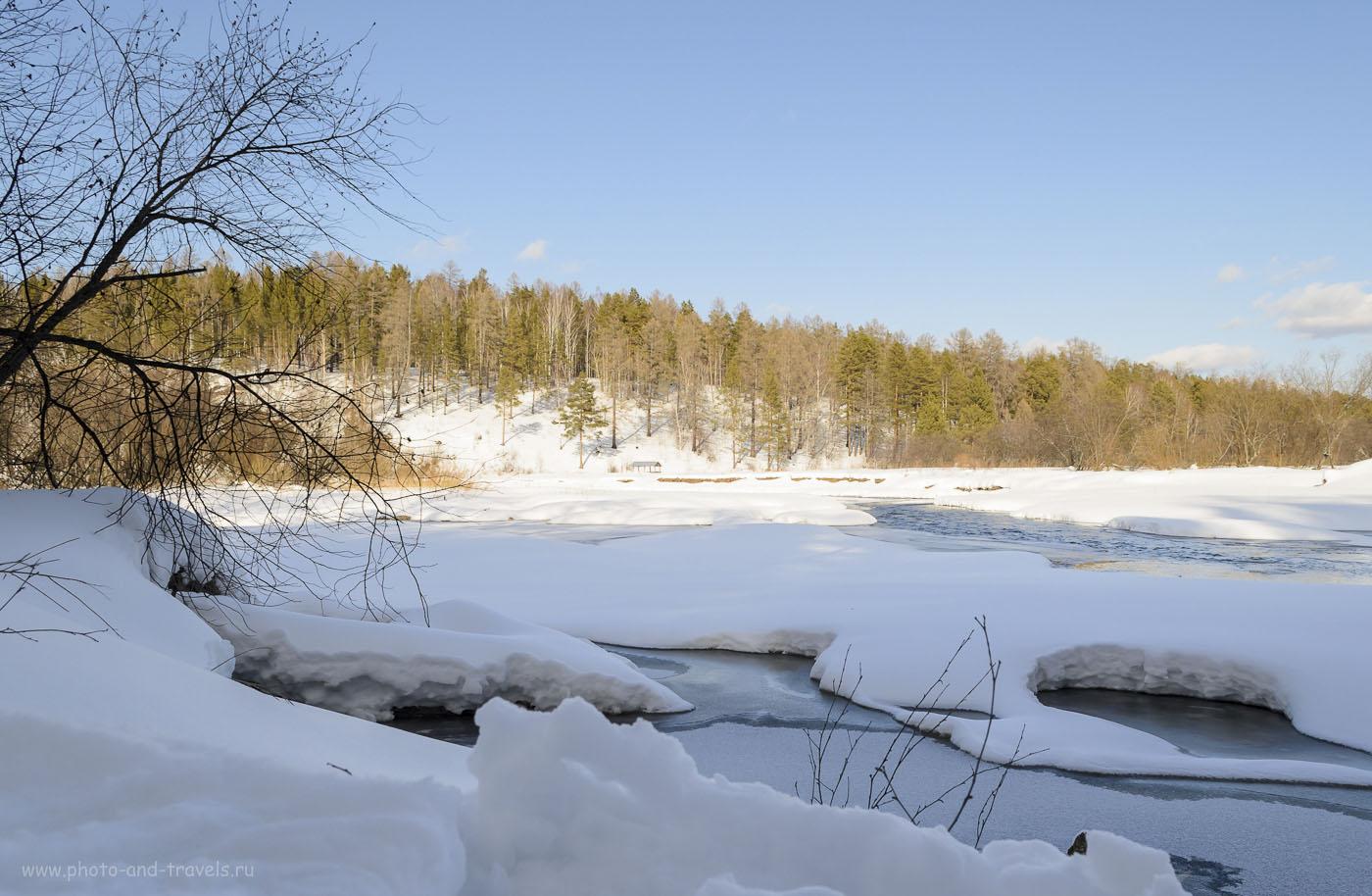 """Фото №3. Река Серга в Природном парке """"Оленьи ручьи"""". Так он выглядит зимой. Походы выходного дня из Екатеринбурга. Все зимние кадры получены на зеркальный фотоаппарат с КИТовым объективом Nikon D5100 KIT 18-55 VR."""