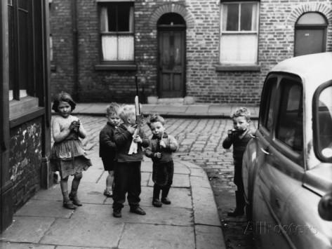 Children Playing on a Street Corner - Manchester, 1961