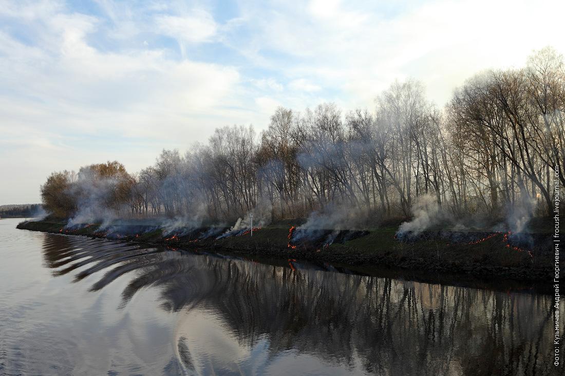 фотография выжигают прошлогоднюю траву по берегам канала