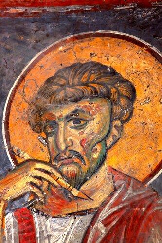 Святой Апостол и Евангелист Лука. Византийская фреска. Кастория, Греция.