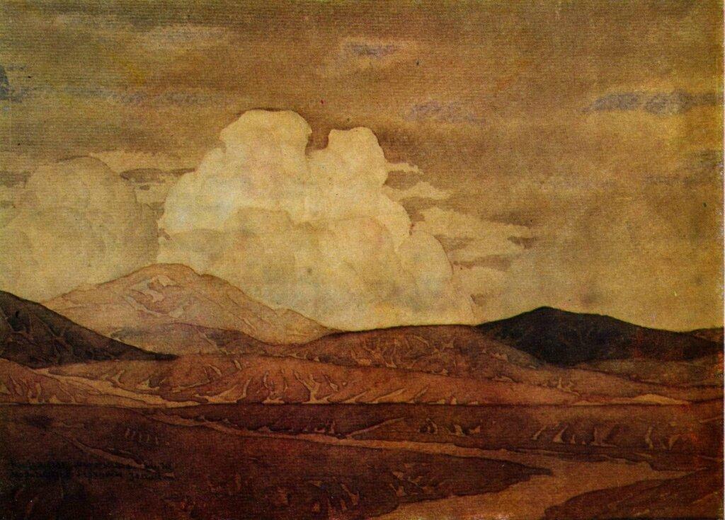 волошин Клубятся медленные тучи, коричневые бархаты земли. 1925