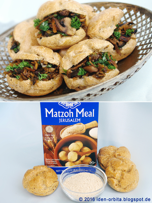 Заварные булочки на Песах с грибной начинкой