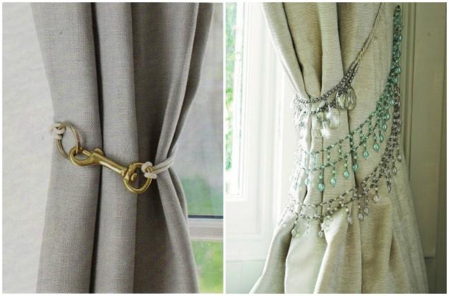 Старые ожерелья или карабин можно использовать вкачестве фиксатора штор.