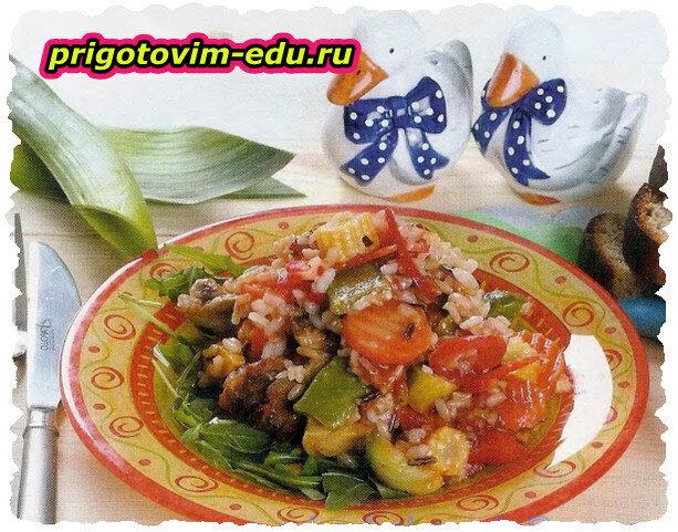 Острый салат с цветным рисом