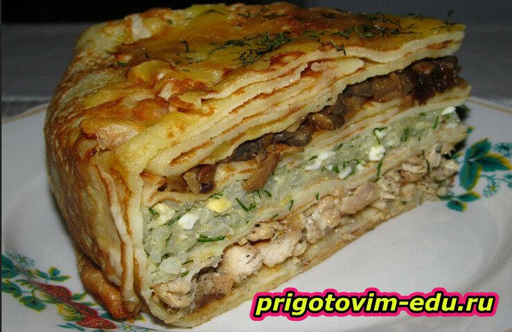 Закусочный пирог с грибами и капустой