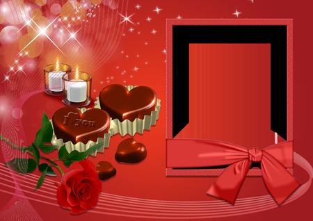 Рамка с красной розой, свечами и шоколадными сердечками
