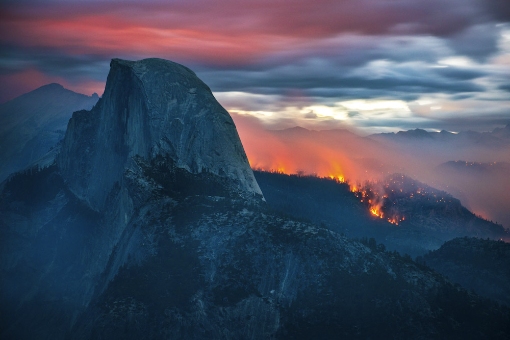 The Meadow Fire burns overnight near Half Dome in Yosemite National Park early Monday September 8, 2