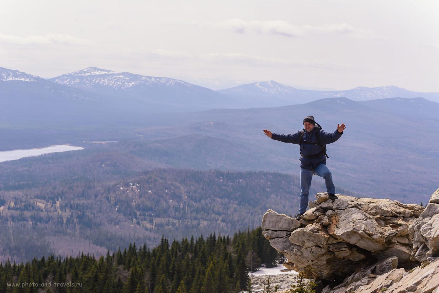 Фото 7. У вершины хребта Зюраткуль. Если не ошибаюсь, сзади – хребет Нургуш (высота 1406 метров).  Рассказ о путешествии на авто по Челябинской области. 1/1250, 8.0, 400, 92.