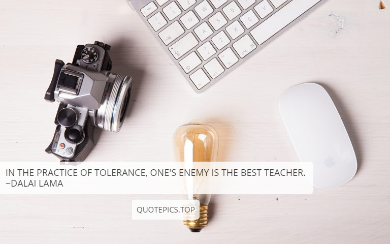 In the practice of tolerance, one's enemy is the best teacher. ~Dalai Lama
