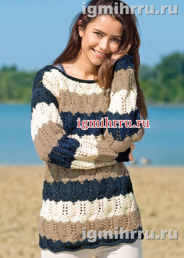 Полосатый пуловер с ажурным узором из ромбов. Вязание спицами