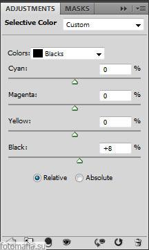 корректирующий слой selective color в Blacks