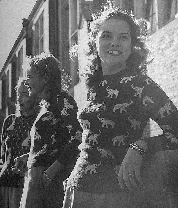 Novelty sweaters from the 1940s in Life magazine. Photo by Nina Leen.jpg