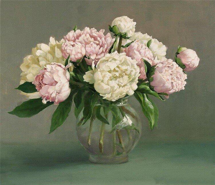 Holly Hope Banks Рeonies_in_a_vase / природа, цветы, весна, натюрморт, лето, живопись, художники, букет, пионы...