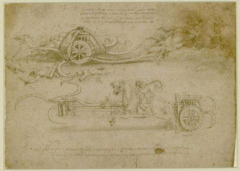 Leonardo Da Vinci Studi di carri d'assalto falcati (1482 - 1485 ca)