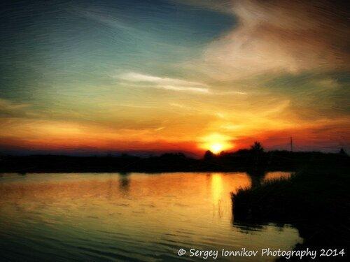 Андрушівка. Червона гірка. Стаськова гребля. Захід сонця. Картина маслом. Травень 2014