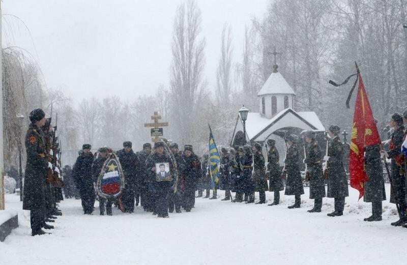 Похороны российского пилота Олега Пешкова в Липецке