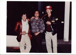Johnathan Pendragon (who was working as the stunt coordinator on Continental Divide), John Belushi, and Hunter S. Thompson (who lived outside of Aspen.jpg