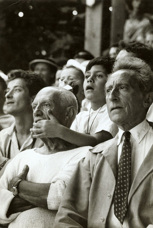 Pablo Picasso, son Claude, & Jean Cocteau at a Bullfight in France, 1955..jpg