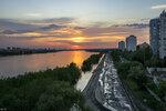 Закат после дождя над полноводным Иртышом
