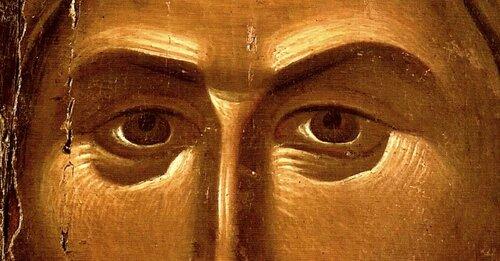 Лик Спасителя. Фрагмент византийской иконы XIII - XIV веков в монастыре Ватопед на Святой Горе Афон.