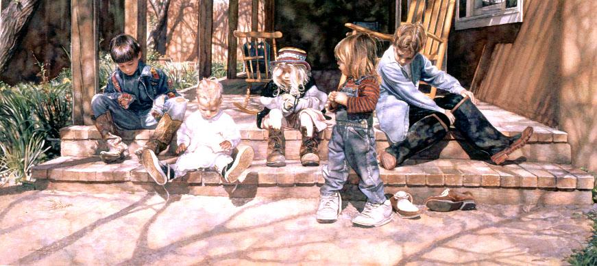 Дети на акварельных рисунках Стива Жэнкса / Steve Hanks