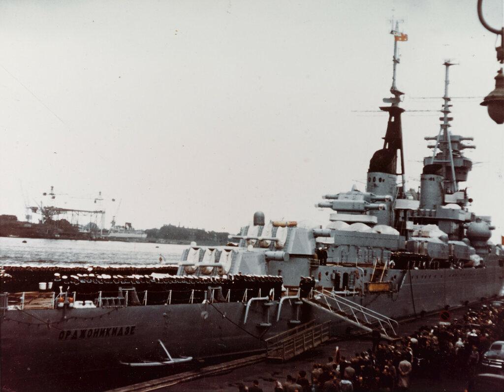 ORDZHONIKIDZE (Soviet Cruiser, 1950-1973) during August 1956 at Copenhagen, Denmark.