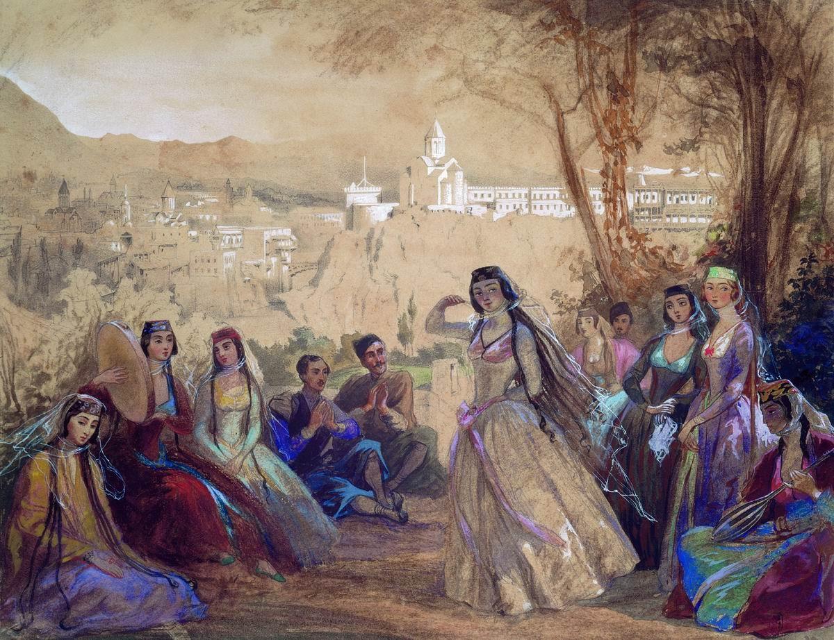 Гагарин Г.Г. Лезгинка. Тифлис. 1840. Государственный Русский музей