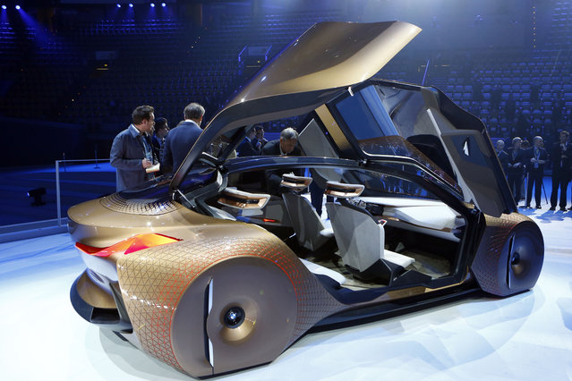 """German car manufacturer BMW presents the """"Vision Next 100"""" concept car during the 100th anniversary"""