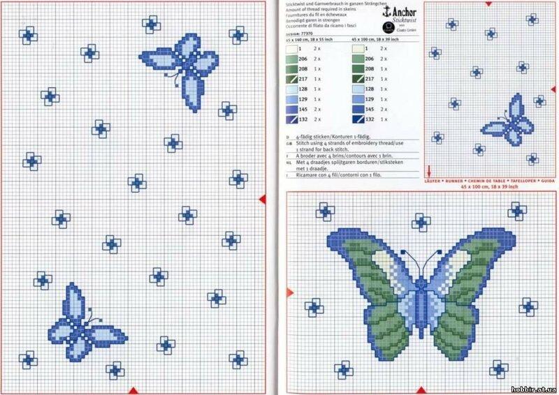 Вышивка крестиком маленькая бабочка