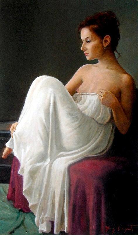 С ней рядом о прекрасном все мечтают. Художник Giuseppe Cacciapuoti