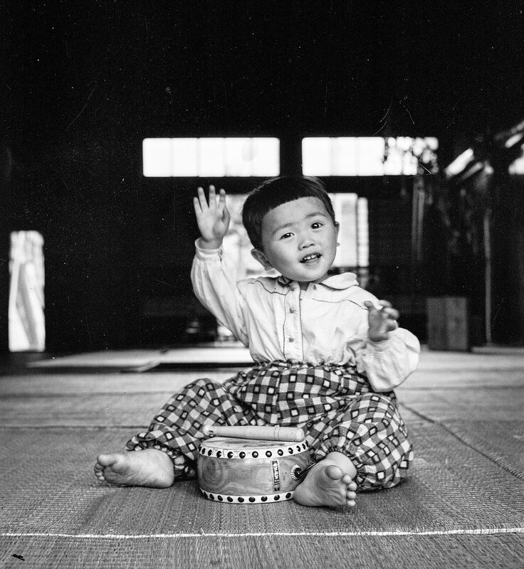 Japanese Child With Drum - 1950s Japan