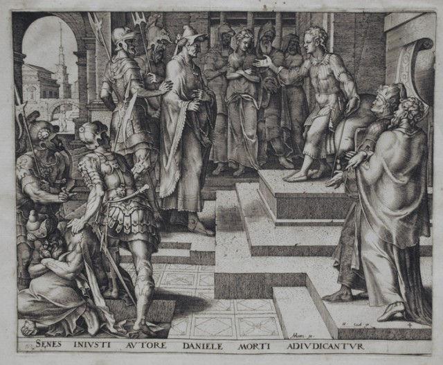 Даниил допрашивает старейшин. Филиппс Галле, гравюра, 1563