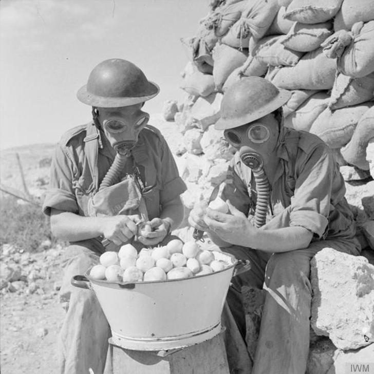 Ужасы войны. Солдаты используют газовые маски, чтобы чистить лук.