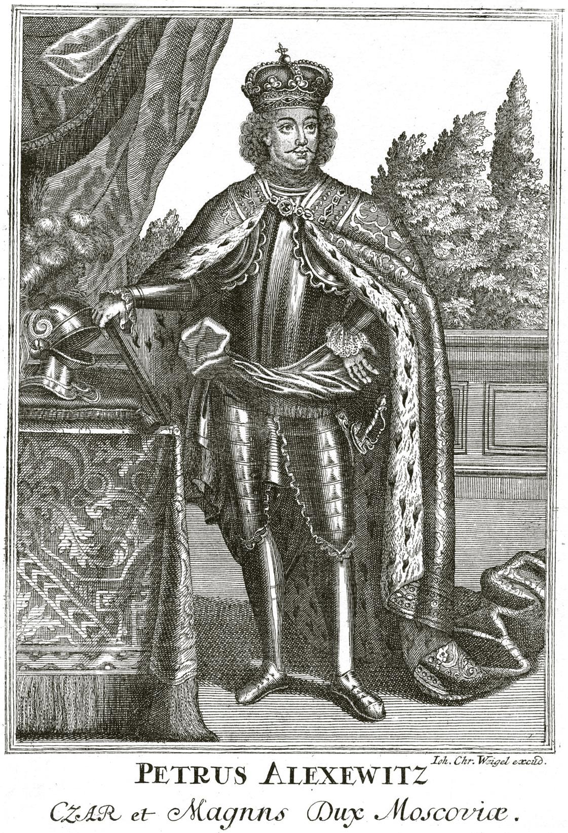 226. Портрет Петра I в короне и порфире: Job. Chr. Weigel excud.