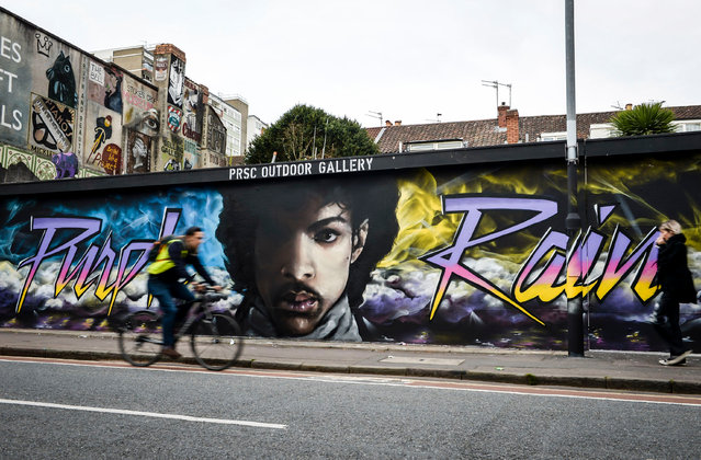 A mural of Prince in Stokes Croft, designed by the artists Paintsmiths of Bristol, UK on October 19,