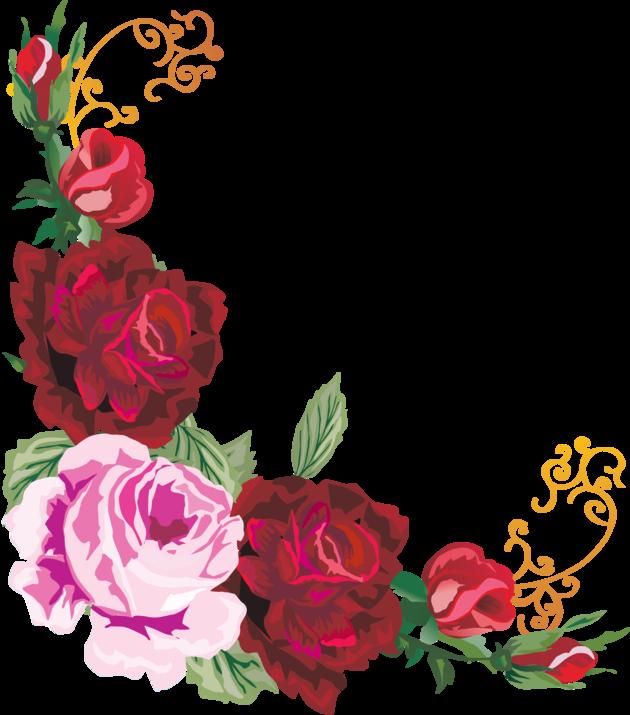 Угловые цветы на открытку, рисунок