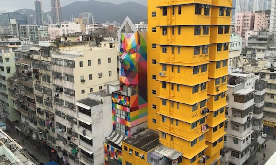Impressive Geometric Bear Mural