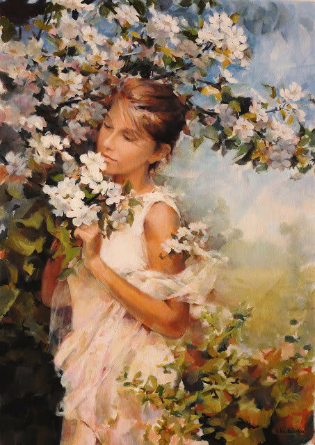 Женщина и цветы. Katarzina Kurkowska