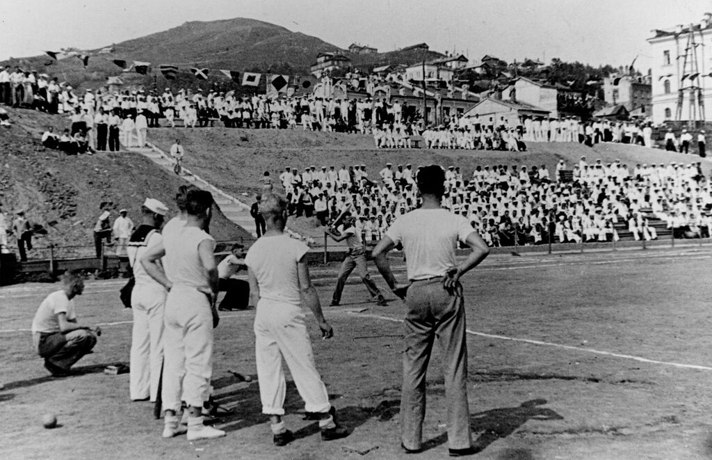 Vladivostok, USSR. Softball games between two American teams at the sports stadium, Thursday, 29 July 1937.