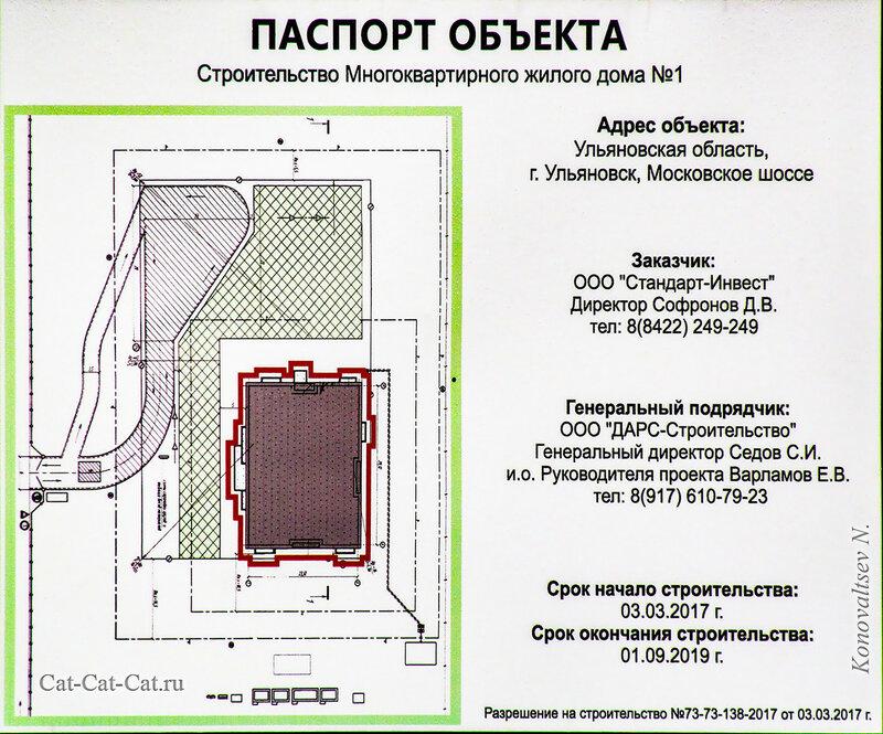 Строительство многоквартирного жилого дома на Свиге у Аквамолла в Ульяновске. Паспорт объекта.
