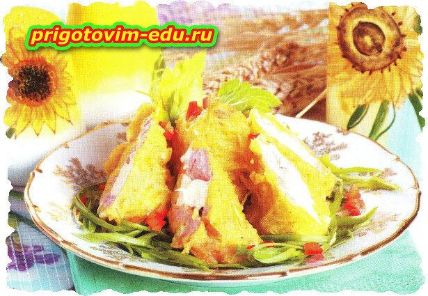 Рулетики из горбуши в картофельном кляре