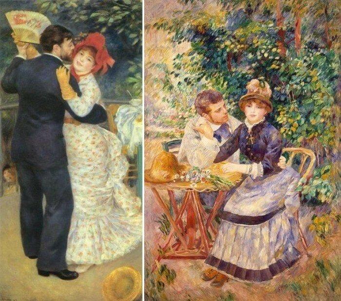 Огюст Ренуар. Слева – *Танец в деревне*, 1882-1883. Справа – *В саду*, 1888