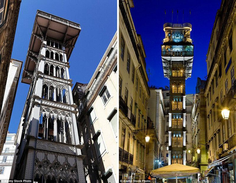 Лифтовый подъёмник Элевадор-ди-Санта-Жушта в Лиссабоне, Португалия.