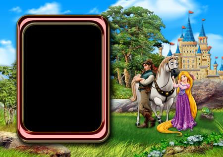 Фоторамка с принцессой Рапунцель, конем, принцем и хамелеоном на лесной лужайке около замка